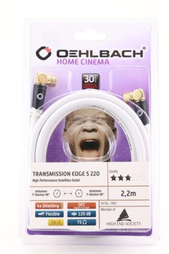 Oehlbach TRANSMISSION EDGE S 220 Sat Anschlusskabel F-Stecker 2,2m Koax weiß 339