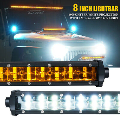 "Xprite Sunrise Series 44/"" Single Row 210W LED Light Bar Amber Backlight for Jeep"