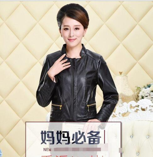 Womens Leather Short Motorbiker Slim Fit Punk Coat Casual Jacket Zip UP Plus sz