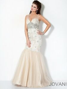 a864769763e09 Jovani Ivory / Nude Tulle Strap Floor Length Lace Mermaid Prom Dress ...