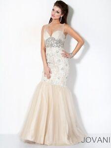 2e9882d6c3f53 Jovani Ivory / Nude Tulle Strap Floor Length Lace Mermaid Prom Dress ...