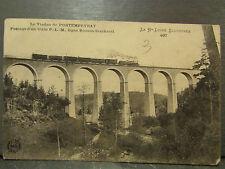 cpa 43 viaduc de pontempeyrat ligne chemin de fer bonson sembadel train