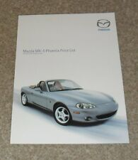 Mazda MX5 MX-5 Phoenix Special Edition Price List 2002