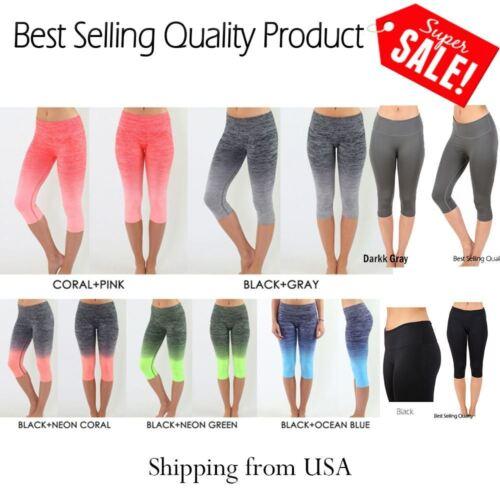 Women Capri Cropped Leggings Yoga Pants for Gym Fitness Workout Wear S M L XL