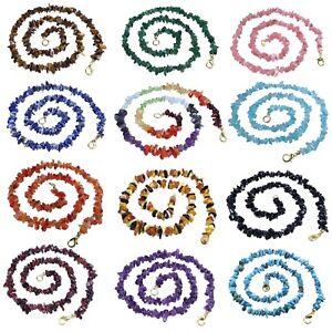 Cadena-de-Piedras-Preciosas-Pinzas-Collar-con-Cierre-45cm-Enorme-Seleccion