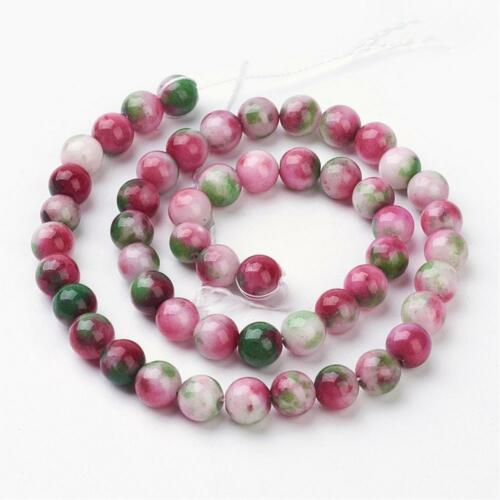8mm Natural Jade Mixed Colour Plain Round Beads UK Strand 51