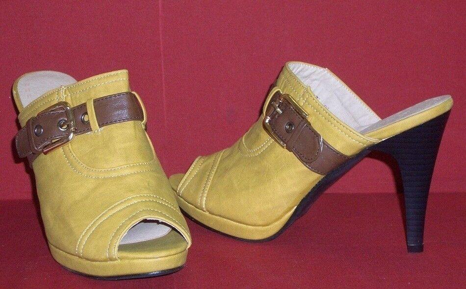 TACCHI ALTI Pantofole spuntate con oro fibbia qihqig TGL 38 oro con marrone NUOVO 70907a