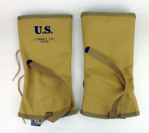 PAIR CANVAS LEGGINGS WWII WW2 US USMC ARMY SOLDIER M1938 LEG WRAPPINGS GAITERS