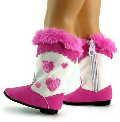 Bright Pink Heart Cowboy Western Boots for 18 inch American Girl Doll Clothes