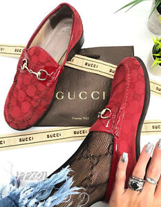 Gucci-Authentic-Vintage-90s-GG-Logo-Horsebit-Loafers-Patent-Red-37-US-7-7-5-Rare