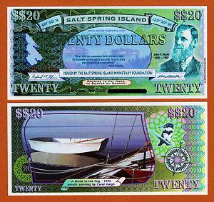 Salt Spring Island 20 Dollars 2002 Unc canada