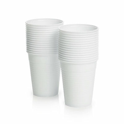WHITE Plastic 7oz Disposable Cups 200ml Drinking Glass Vending Style Cup 180cc