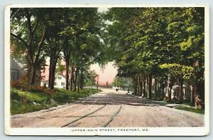 Freeport-Maine-Upper-Main-Street-Homes-Tucked-in-Trees-Trolley-Tracks-1912-PC