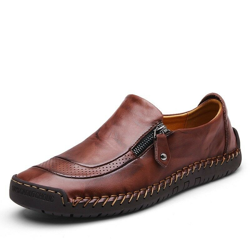 Casual Men Loafers moccasin Driving shoes Zipper Round Toe Flat shoes Leather