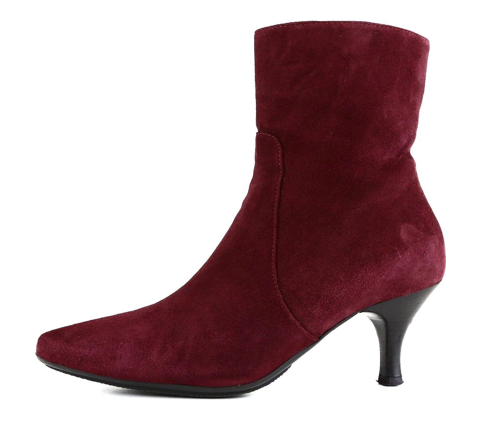 Aquatalia By Marvin K. Mila Suede Ankle Boot Burgundy Women Sz 6.5 5719 *