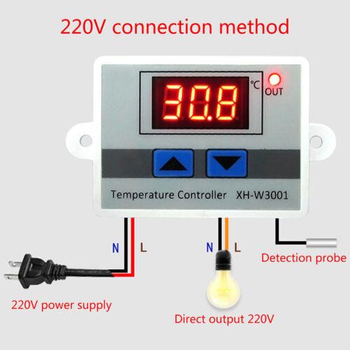 White DC  Digital LED Temperature Controller 10A Thermostat Switch Probe 2 MI