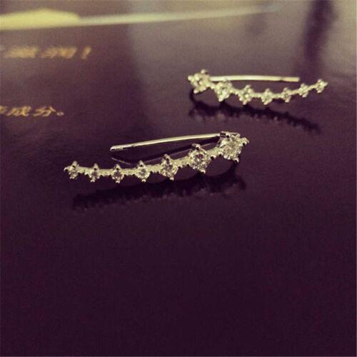 1 Par Cristal Hoja Flor Piercing oreja dobladillo pendientes con Pasador Wrap Clip en Retro