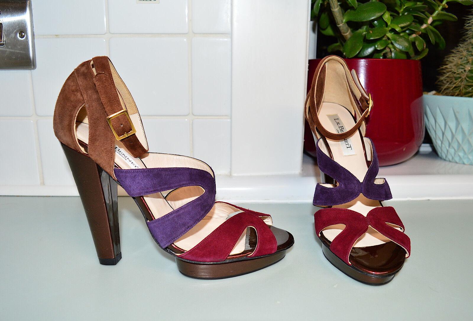 L.K. Bennett FLOELLA bronze & purple suede Leder high heel schuhe  UK 4 EU 37