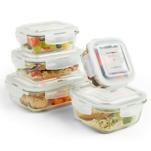 VonShef-5pc-Containers-Glass-Food-Storage-with-5-Airtight-Tupperware-Clip-Lids