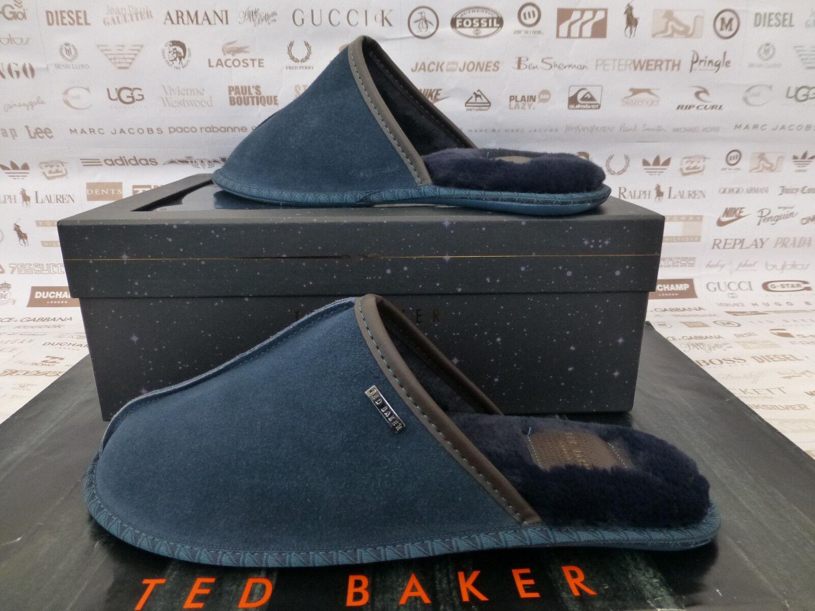 TED BAKER Mule Slipper Parick Men's UK 8 Dk bluee Cosy Fur Slippers Boxed