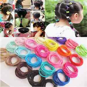 100pcs-Elastic-Rope-Kids-Hair-Ties-Ponytail-Holder-Head-Band-Hairbands-Wholesale