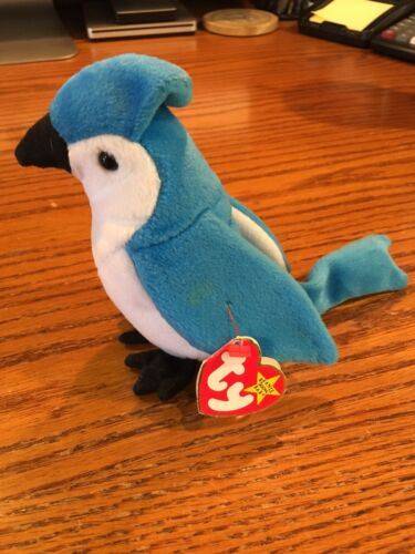 TY Beanie Baby ROCKET BlueJay Bird with Swing tag and Tush Tag and Error