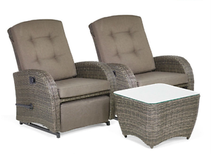 Two Seater Rattan Garden Furniture Outdoor 2 seater reclining rattan garden furniture set patio table image is loading outdoor 2 seater reclining rattan garden furniture set workwithnaturefo
