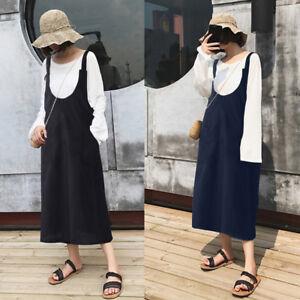 ZANZEA Womens Sleeveless Stripe Straps Dress Casual Loose Midi Pinafore Dresses