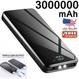 3000000mAh Portable Power Port Bank LCD Dual USB External Backup Battery Charger