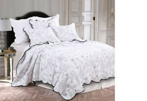 Coverlet 100/% Cotton No Polyester Super King Ivory Embroidered Circular Pattern