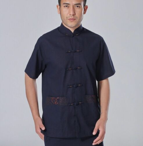 XXL blue Chinese style Men/'s traditional cotton//linen Kung FU shirt tops Sz:S