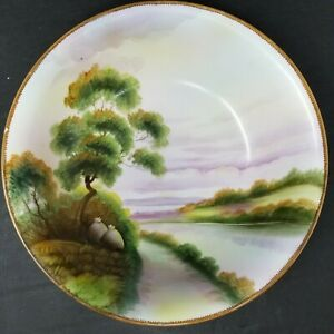 Vintage-Nippon-Hand-Painted-Landscape-8-5-034-Bowl-EUC