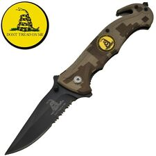 Don't Tread On Me! Assisted Opening Digi Camo Rescue Knife FAST SHIPPING!