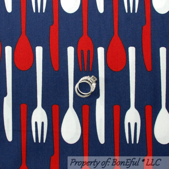 BonEful Fabric FQ Cotton Quilt Blue Red White Country Kitchen Silverware Picnic