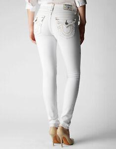 True-Religion-Women-039-s-Skinny-White-Jeans-w-flap-back-pockets-w-off-white-Stitch