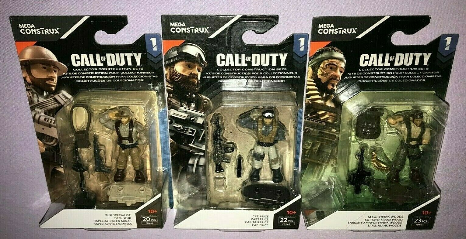3x MEGA CONSTRUX CALL OF DUTY SERIES 1 MINE SPECIALIST   CPT PRICE   FRANK WOODS