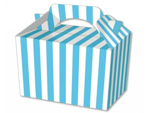 Blue Stripe Food Boxes ~ Striped Loot Lunch Meal Box ~ Birthday Party Plate