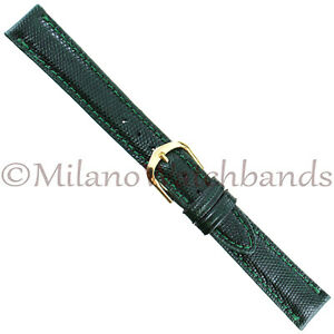 14mm-Milano-USA-Green-Genuine-Lizard-Padded-Stitched-Ladies-Watch-Band