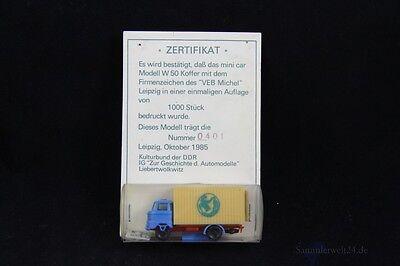 1985 Ddr Modell 1 : 85 Mini Car W 50 Mit Sonderaufdruck Auflage 1000 Stück Gute WäRmeerhaltung