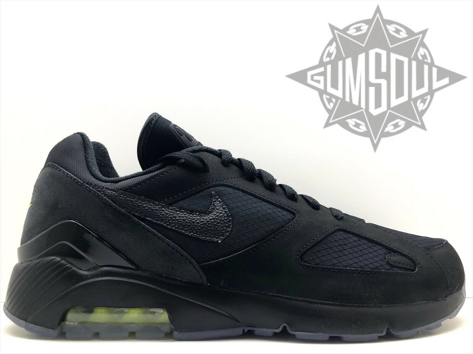 NIKE AIR MAX 180 NIGHT OPS nero nero nero VOLT GLOW IN THE DARK SOLE AQ6104 001 sz 8.5 bcb5b2