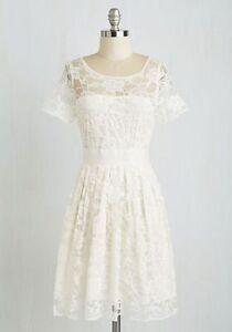Details About Modcloth Bb Dakota Adrift On A Cloud Dress Ivory Lace Vintage Plus Size 20 22