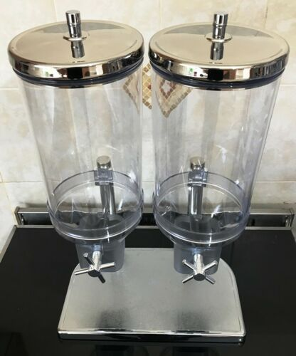 APS Double Cereal Dispenser 2X4.5Ltr 35X22X52cm Clear Stainless Steel Bottle