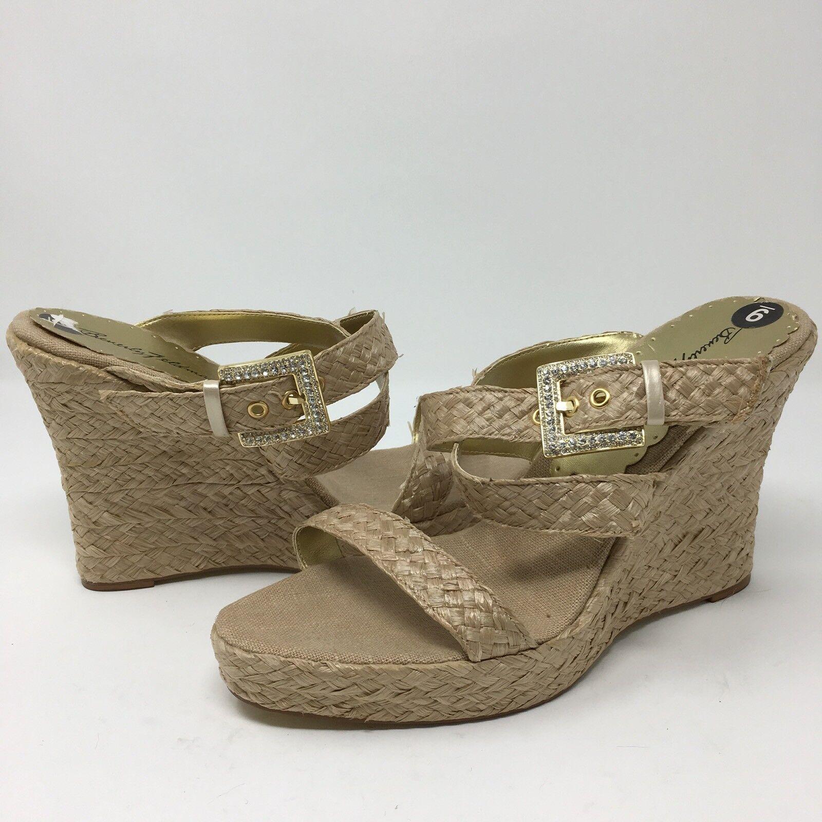 Beverly Feldman Wedge Sandales Heels Größe 9 M Rhinestone Buckle NEU