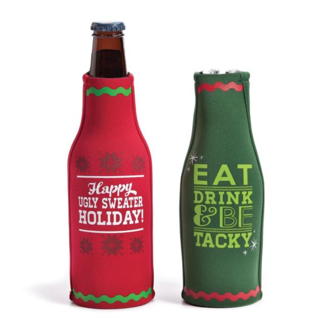 Christmas Koozies.Ugly Sweater Christmas Party Bottle Koozies Silvestri