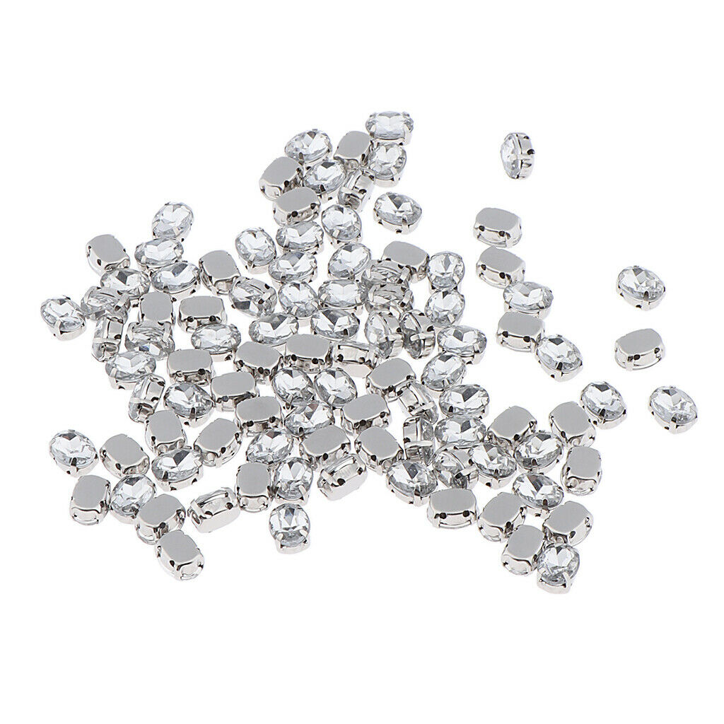 100x Sew On Crystals Strass Diamantes Beads Craft Diy Decorations - Clear 6x8mm