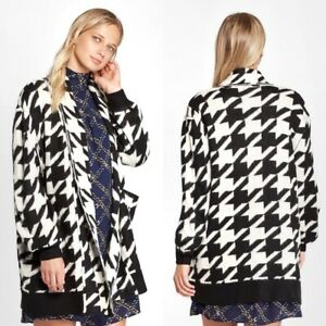 Good Nwt Who What Wear Ultra Soft Black & Ivory Houndstooth Print Open Front Cardigan Ideal Gift For All Occasions