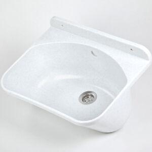 Ausgussbecken-46cm-Waschbecken-Waschtrog-Spuelbecken-inkl-Ablaufgarnitur-Ablauf