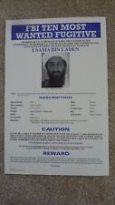 USAMA BIN LADEN - FBI TOP TEN WANTED POSTER - Authentic!