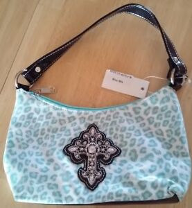 Cross Green Teal Shoulder White Print With Western And Cheetah Sparkling Bag l1FKJc