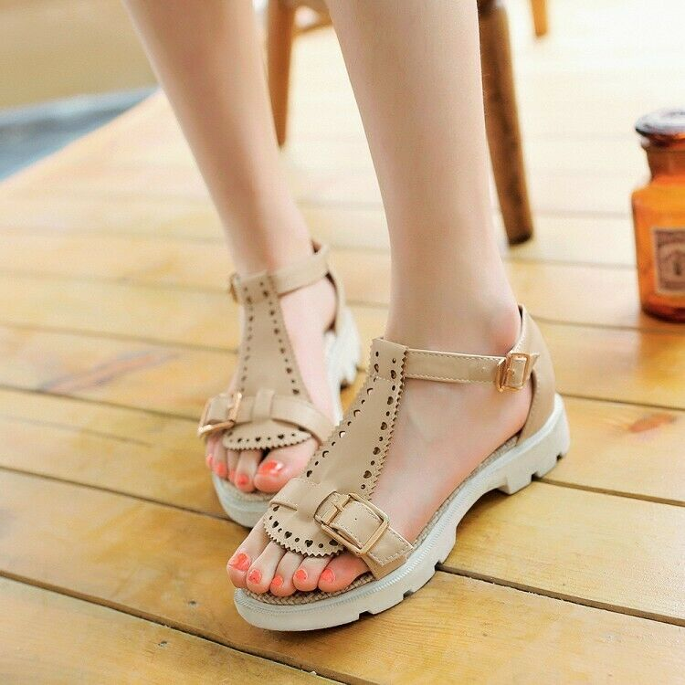 Women Casual Buckle Sandals Flat Peep Toes Round Hollow Out Comfort Solid shoes